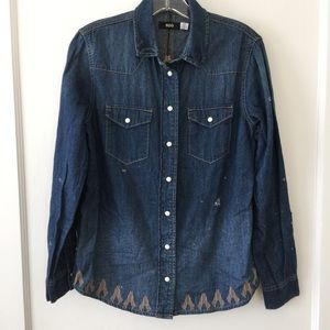 Urban Outfitters Embroidered Denim Shirt